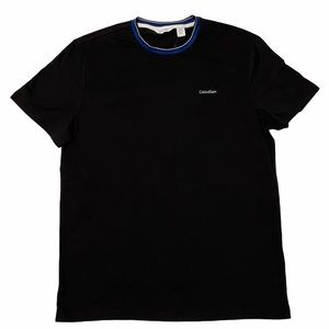 Calvin Klein Ringer Tee Shirt NWT Medium Black